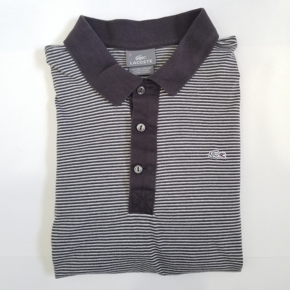 6e454c9a LACOSTE Gray Stripped Long Sleeve Polo Shirt